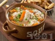 Рецепта Супа / чорба от пилешки фенери с картофи и зеленчуци и застройка